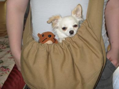 She lived in a pouch with her squirrel for several months. It was her safe place.